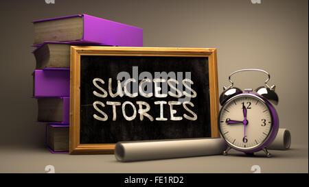 Success StoriesHandwritten by white Chalk on a Blackboard. - Stock Photo