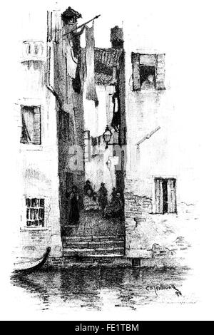 A Street in Venice, halftone auto-lithograph by Charles Edward Holloway, 1838 -1897, 1895 Illustration from 1897 - Stock Photo