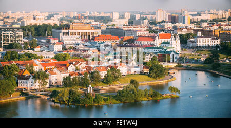 Aerial Panoramic view of Nemiga area, the center of Minsk, Belarus, Trinity hill, Svisloch river in summer day time. - Stock Photo
