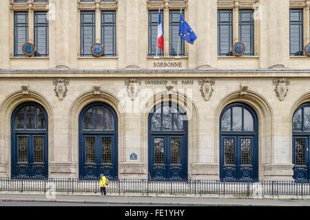 Main entrance Paris Sorbonne University, Paris IV, Université Paris Sorbonne, public research university in Paris, - Stock Photo