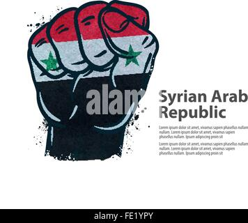 fist.  flag Syria. vector illustration - Stock Photo