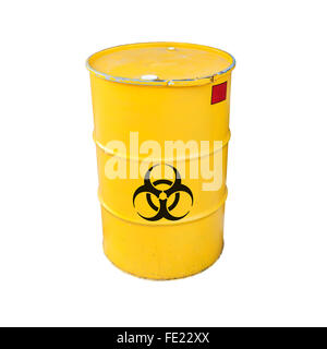 Yellow metal barrel with black biohazard warning sign isolated on white background - Stock Photo