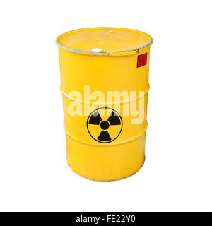 Yellow metal barrel with black radioactive warning sign isolated on white background - Stock Photo