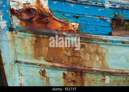 Rust and paint detail on an old fishing boat, Killala, County Mayo, Ireland. - Stock Photo