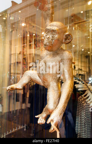 Manchester, UK. 4th Feb 2016. Window display in 'Jigsaw' on King St. in celebration of the monkey for the Chinese - Stock Photo