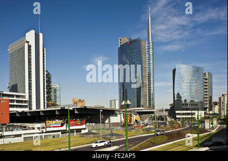 New buildings constructed in the area of Garibaldi Station, Porta Nuova District. The Unicredit Tower in the background, - Stock Photo