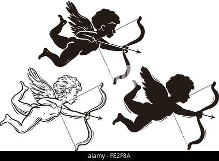 three cute Valentine's angel silhouette - Stock Photo