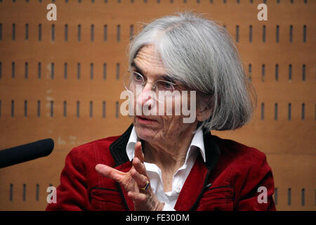 Barcelona, Spain. 4th February, 2016. Best seller crime novels writer Donna Leon, author of 'The waters of eternal - Stock Photo
