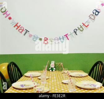 Restaurant Table Laid For Children Party - Stock Photo