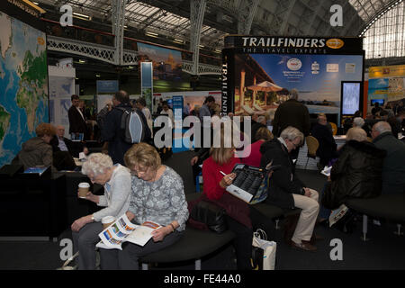 Olympia, London, UK. 4th February, 2016.Trailfinders stand at at the Holiday and Travel show which gets underway - Stock Photo