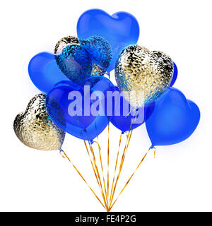 Golden and blue balloons in the shape of heart - Stock Photo