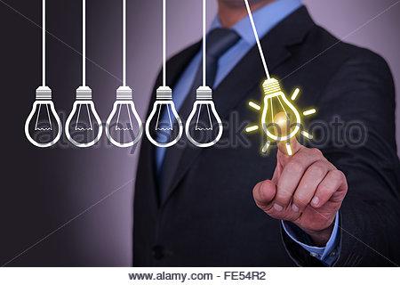 Idea Light Concepts on Visual Screen - Stock Photo