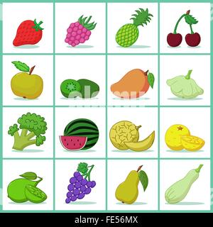 Icons of fruits and vegetables  - Vector illustration - Stock Photo
