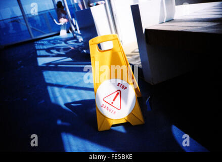 Wet Floor Warning Sign - Stock Photo