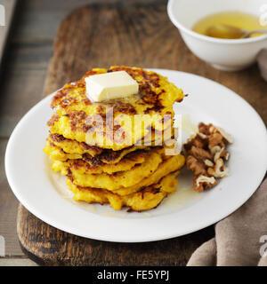 sweet squash pancakes, food closeup - Stock Photo