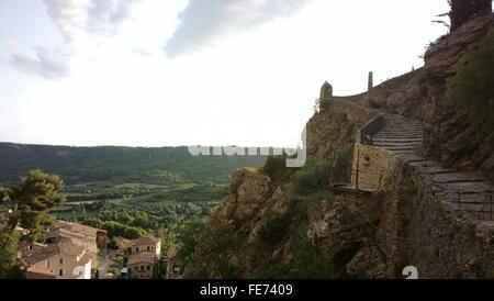 Rocky Mountains Against Sky At Moustiers-Sainte-Marie - Stock Photo