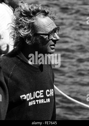 AJAXNETPHOTO - 16th August, 1979. PLYMOUTH, ENGLAND - FASTNET RACE - PETER CANTWELL (AUS), SKIPPER OF POLICE CAR - Stock Photo