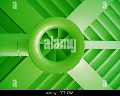 Low Angle View Of Green Air Duct On Ceiling - Stock Photo