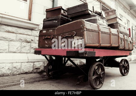 Vintage luggage on baggage trolley on film set Edinburgh Scotland ...