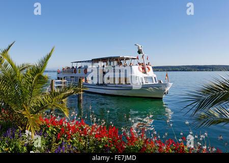 Passenger ship on Lake Constance, Überlingen, Bodenseekreis, Upper Swabia, Baden-Württemberg, Germany - Stock Photo