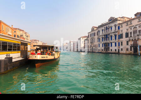 Venice public transport ferry the 'Vaporetto' sailing up the Grand Canal - Stock Photo