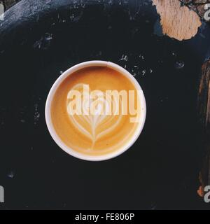 Cappuccino Coffee Cup With Latte Design - Stock Photo