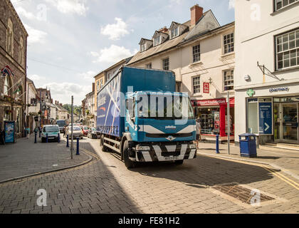 Lorry in town high street, Abergavenny, Wales, UK - Stock Photo