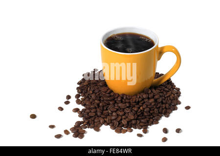 Studio Shot of an Orange Cup of Hot Coffee and Coffee Beans - Stock Photo