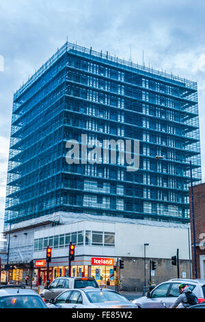 Scaffolding netting on building, Edgware, Greater London, England, UK - Stock Photo