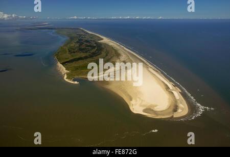 Osterhook, Wadden Sea, aerial view, Langeoog, North Sea, North Sea island, East Frisian Islands, Lower Saxony, Germany, - Stock Photo