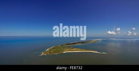 Wadden Sea, aerial view, Wangerooge, North Sea, North Sea island, East Frisian Islands, Lower Saxony, Germany, Europe, - Stock Photo