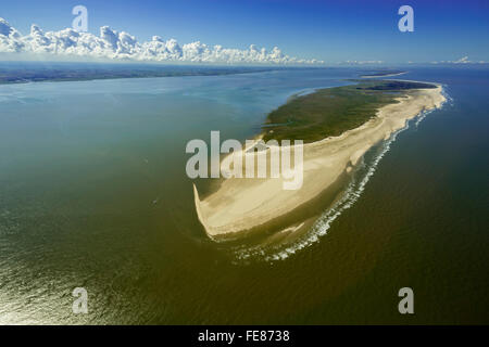 Wadden Sea, aerial view, Spiekeroog, North Sea, North Sea island, East Frisian Islands, Lower Saxony, Germany, Europe, - Stock Photo