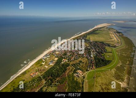 Aerial view, Wangerooge, North Sea, North Sea island, East Frisian Islands, Sea, Lower Saxony, Germany, Europe, - Stock Photo