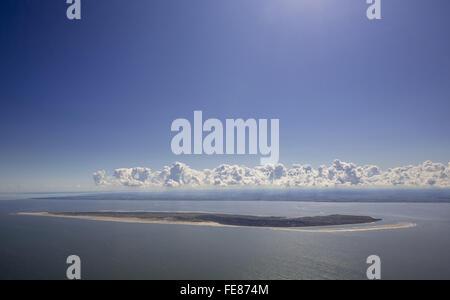 Aerial view, Langeoog, North Sea, sea, blue sky, North Island, East Frisian Islands, Lower Saxony, Germany, Europe, - Stock Photo