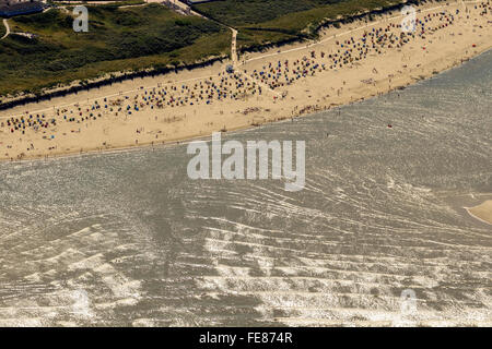 Sandy beach, aerial view, Langeoog, North Sea, North Sea island, East Frisian Islands, Lower Saxony, Germany, Europe, - Stock Photo