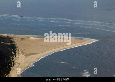 Sandy beach, Osterhook, aerial, Langeoog, North Sea, North Sea island, East Frisian Islands, Lower Saxony, Germany, - Stock Photo