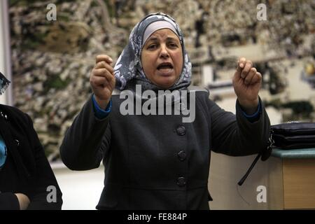 (160205) -- JERUSALEM, Feb. 5, 2016 (Xinhua) -- Suha, mother of Palestinian teenager Mohammed Abu Khdeir who was - Stock Photo