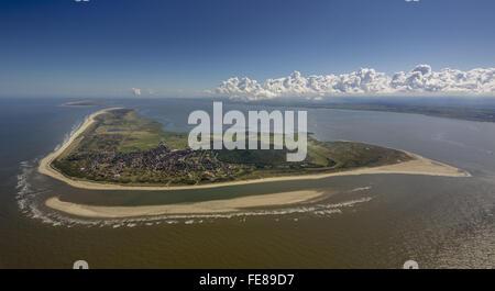 Sandbank, aerial, Langeoog, North Sea, North Sea island, East Frisian Islands, Lower Saxony, Germany, Europe, Aerial - Stock Photo
