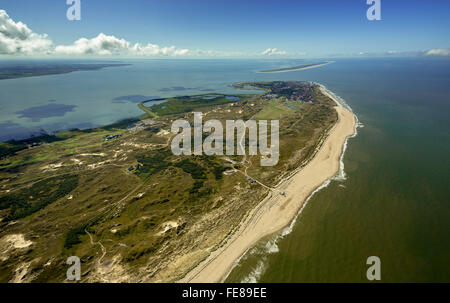 Wadden Sea, aerial view, Norderney, North Sea, North Sea island, East Frisian Islands, Lower Saxony, Germany, Europe, - Stock Photo