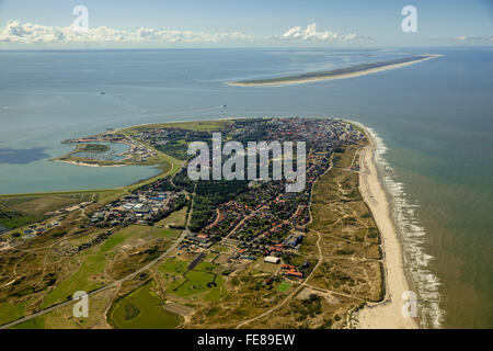 Place Norderney, West Island, Wadden Sea, aerial view, Norderney, North Sea, North Sea island, East Frisian Islands,Lower - Stock Photo
