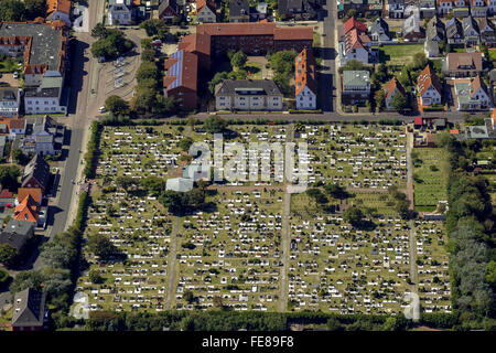 Cemetery Norderney, aerial, Norderney, North Sea, North Sea island, East Frisian Islands, Lower Saxony, Germany, - Stock Photo