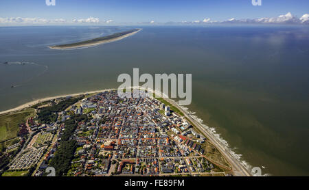 Aerial view, place Norderney, West Island, aerial view, Norderney, North Sea, North Sea island, East Frisian Islands, - Stock Photo