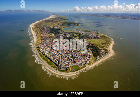 Aerial view, place Norderney, West Island, Wadden Sea, aerial view, Norderney, North Sea, North Sea island, East - Stock Photo