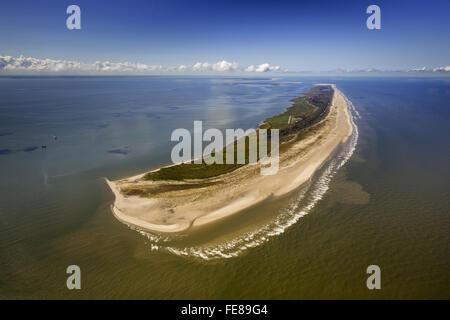 Aerial view, east side Kalfamer, Wadden Sea, aerial view, Juist, North Sea, North Sea island, East Frisian Islands, - Stock Photo