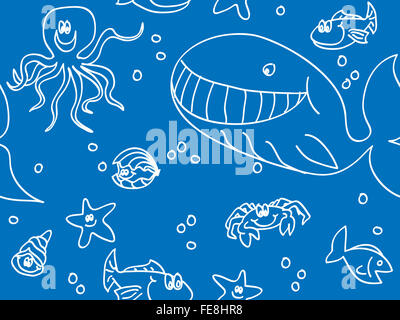 Seamless fun sea creatures doodle - Stock Photo