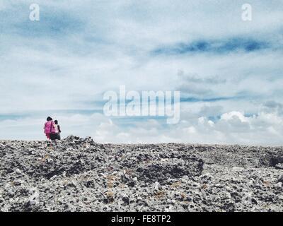 Sky Over Porous Rocks - Stock Photo