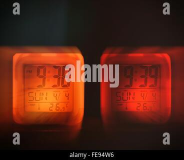 Multiple Image Of Digital Clock - Stock Photo