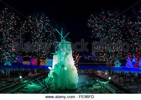 A Frozen Water Fountain, A Hudson Christmas (holiday Light Show At Hudson  Gardens)