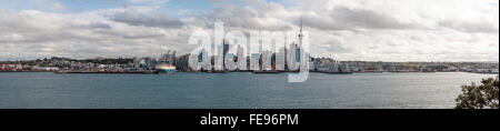 Wide panoramic view of Auckland city central, New Zealand - Stock Photo