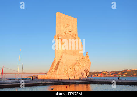 Monument to the discoveries Lisbon at twilight - Stock Photo